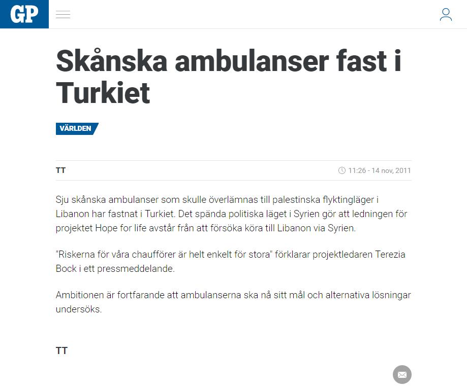 Svenska ambulanser pa vag till gaza
